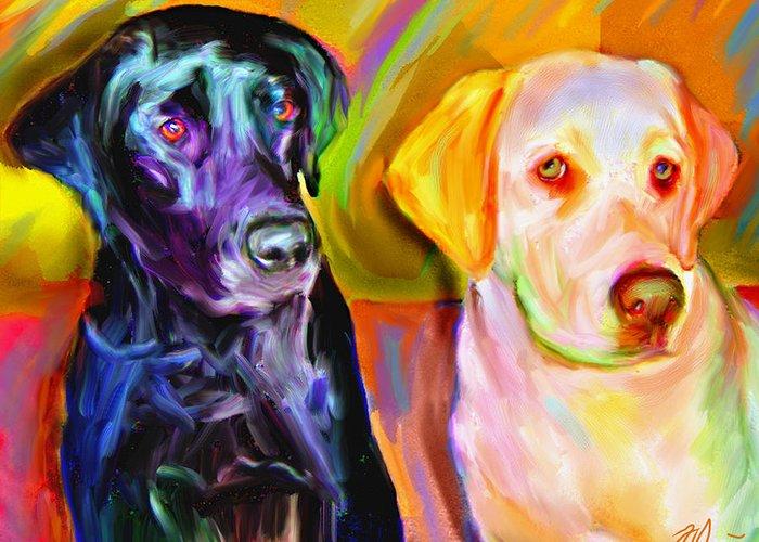 Labradors Greeting Card featuring the digital art Waiting by Karen Derrico