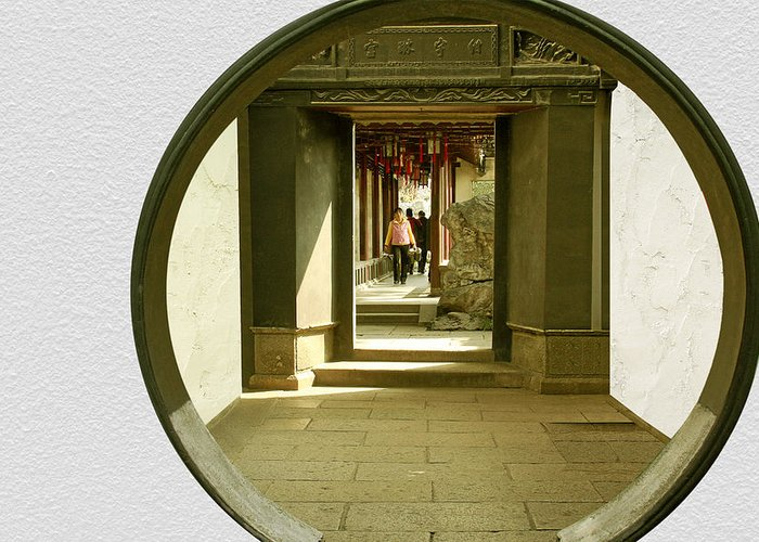 Archway Greeting Card featuring the photograph Walk Into The Light - Yuyuan Garden Shanghai China by Christine Till