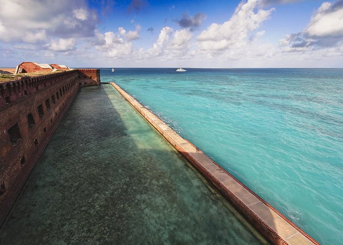 Architecture Greeting Card featuring the photograph Walls And Moat Of Fort Jefferson by George Oze