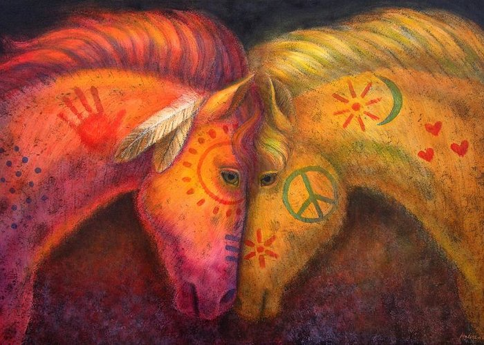Horse Greeting Card featuring the painting War Horse And Peace Horse by Sue Halstenberg