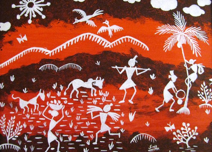 Warli Greeting Card featuring the painting Warli Village Scene by Sowjanya Sreeram