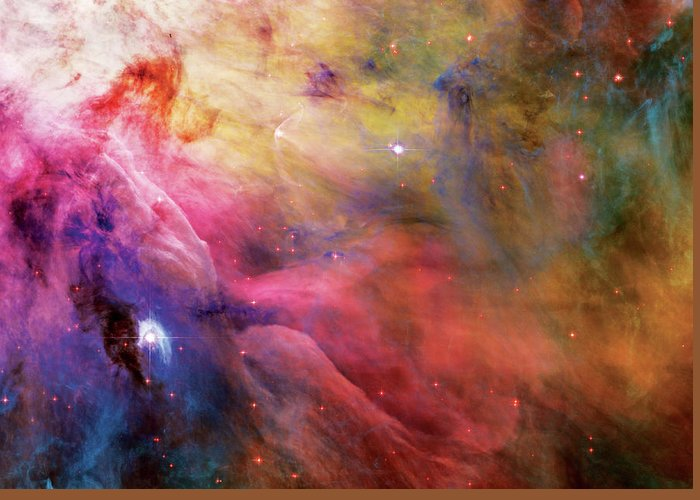 Nebula Greeting Card featuring the photograph Warmth - Orion Nebula by The Vault - Jennifer Rondinelli Reilly
