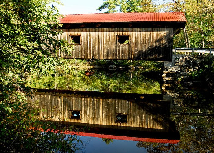 Covered Bridge Greeting Card featuring the photograph Warner Covered Bridge by Greg Fortier