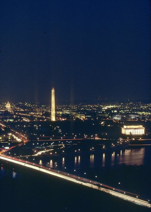 Washington Greeting Card featuring the photograph Washington D.c. At Night, Seen by Kenneth Garrett