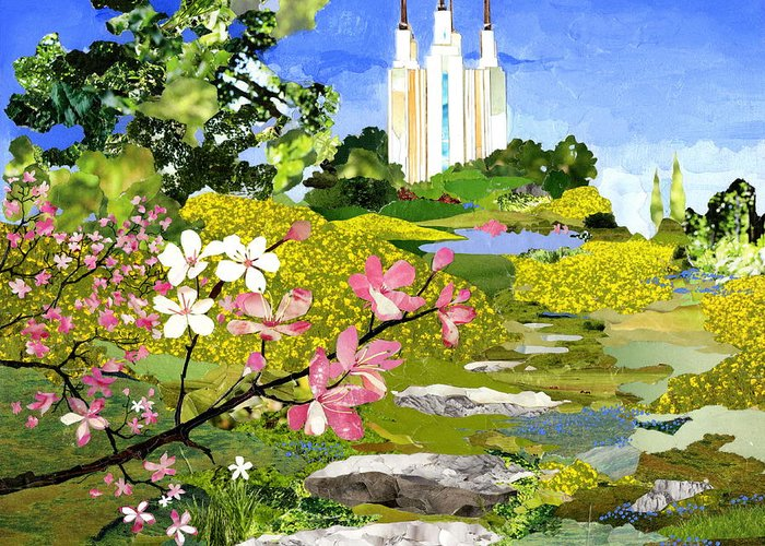 Temple Greeting Card featuring the mixed media Washington Dc Temple by Robin Birrell