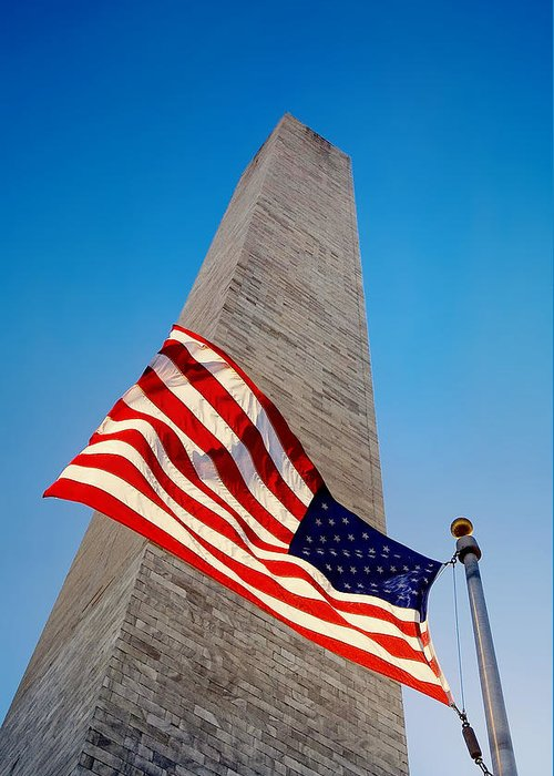 American Flag Greeting Card featuring the photograph Washington Monument by Ilker Goksen
