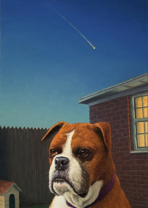 Watchdog Greeting Card featuring the painting Watchdog by James W Johnson