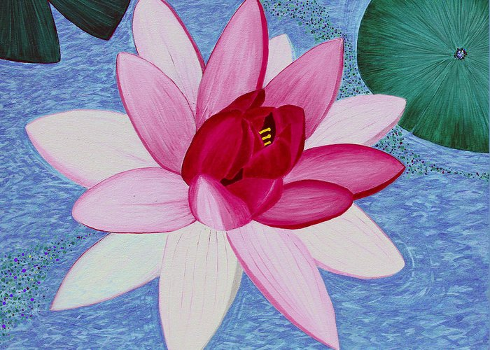 Water Lilly Greeting Card featuring the painting Water Lilly by Loraine LeBlanc
