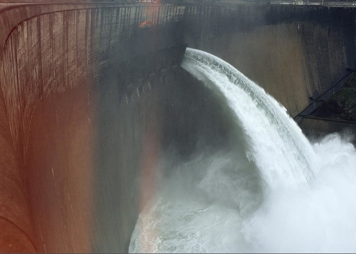 Africa Greeting Card featuring the photograph Water Pours Over The Kariba Dam by James L. Stanfield