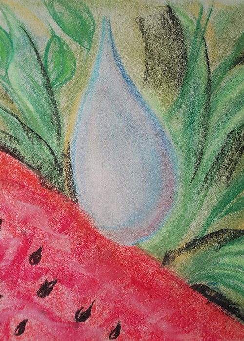 Watermelon Greeting Card featuring the pastel Water Watermelon by Aldonia Bailey