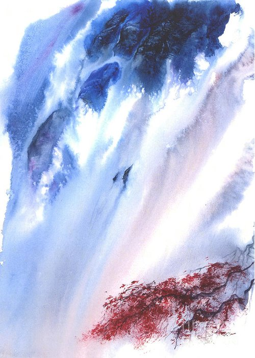 A Waterfall- A Watercolor Painting Greeting Card featuring the painting Waterfall by Mui-Joo Wee