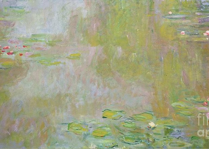Waterlilies At Giverny Greeting Card featuring the painting Waterlilies At Giverny by Claude Monet