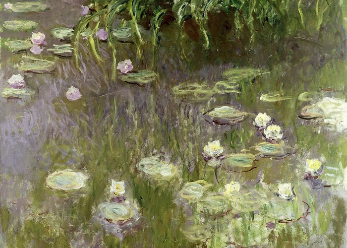Waterlilies At Midday Greeting Card featuring the painting Waterlilies At Midday by Claude Monet