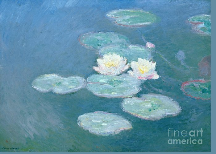 Waterlilies Greeting Card featuring the painting Waterlilies Evening by Claude Monet