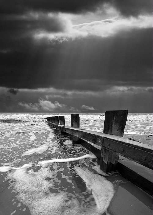 Groyne Greeting Card featuring the photograph Wave Defenses by Meirion Matthias