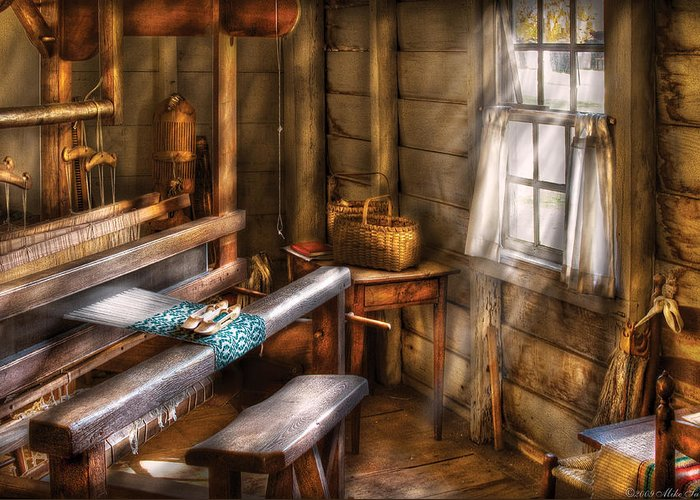 Savad Greeting Card featuring the photograph Weaver - The Weavers Room by Mike Savad