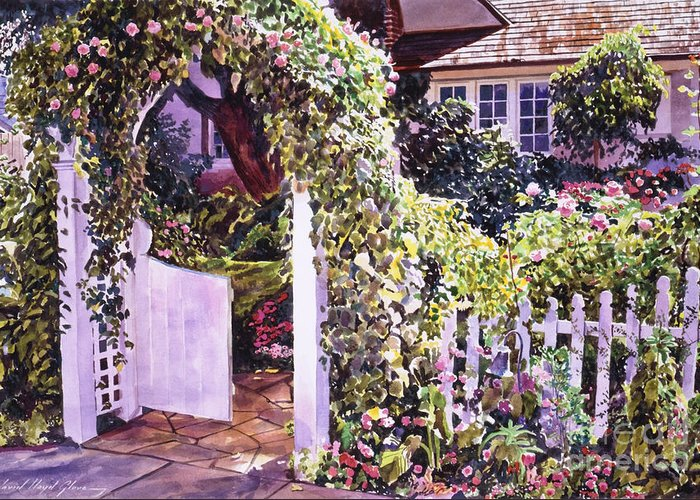 Watercolor Gardens Greeting Card featuring the painting Welcome Rose Covered Gate by David Lloyd Glover