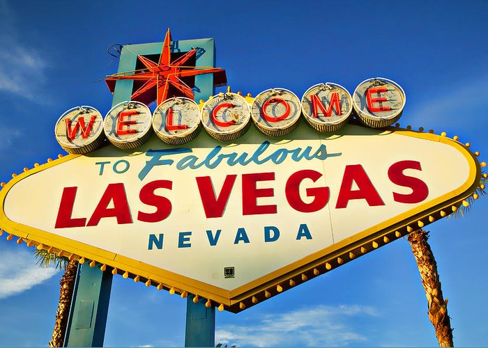 Welcome Las Vegas Sign Greeting Card featuring the photograph Welcome To Las Vegas Sign by Garry Gay