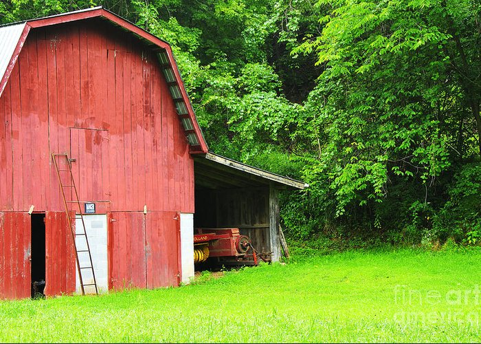 West Virginia Greeting Card featuring the photograph West Virginia Barn And Baler by Thomas R Fletcher