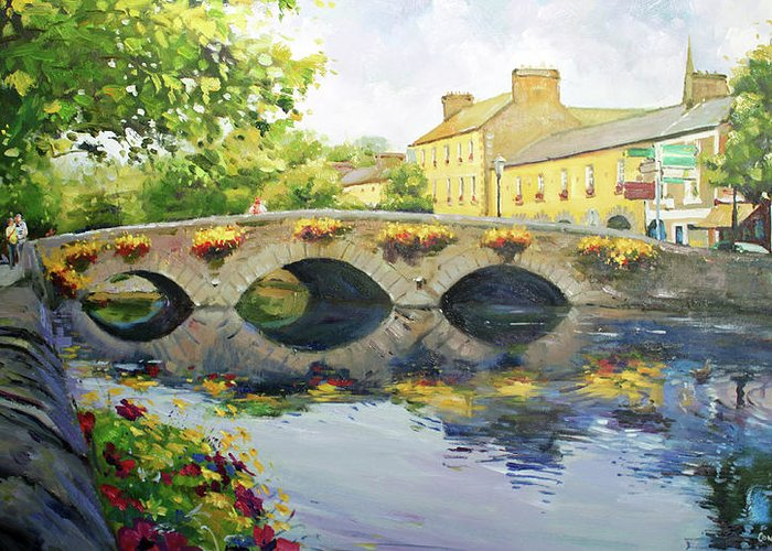 Westport County Mayo Greeting Card featuring the painting Westport Bridge County Mayo by Conor McGuire