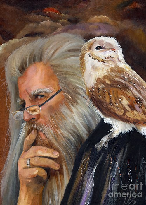 Wizard Greeting Card featuring the painting What If... by J W Baker
