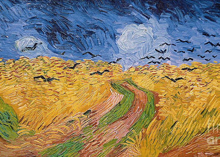 Landscape;post-impressionist; Summer; Wheat; Field; Birds; Threatening; Sky; Cloud; Post-impressionism Greeting Card featuring the painting Wheatfield With Crows by Vincent van Gogh