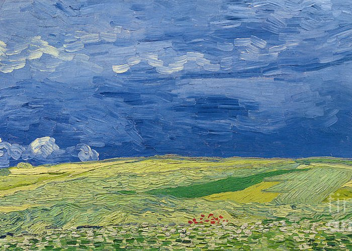 Field; Cloud; Sky; Landscape; Countryside; Post-impressionist; Auvers Sur Oise; French Greeting Card featuring the painting Wheatfields Under Thunderclouds by Vincent Van Gogh