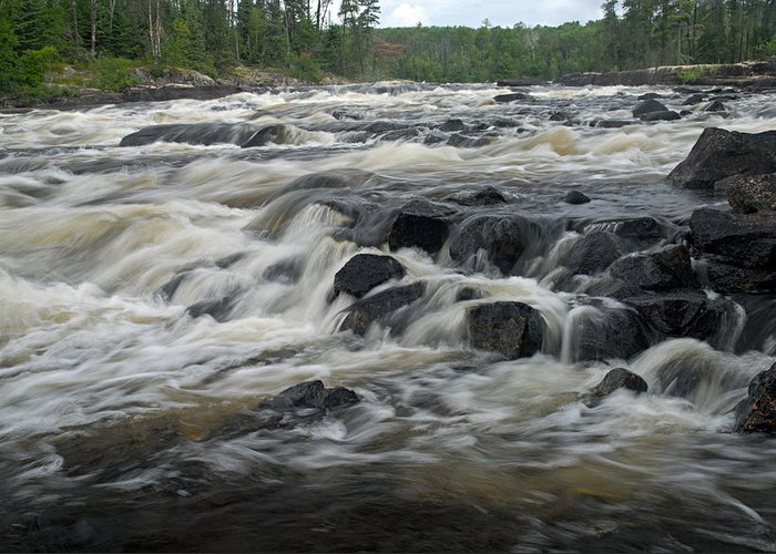 Boundary Waters Canoe Area Wilderness Greeting Card featuring the photograph Wheelbarrow Falls by Larry Ricker