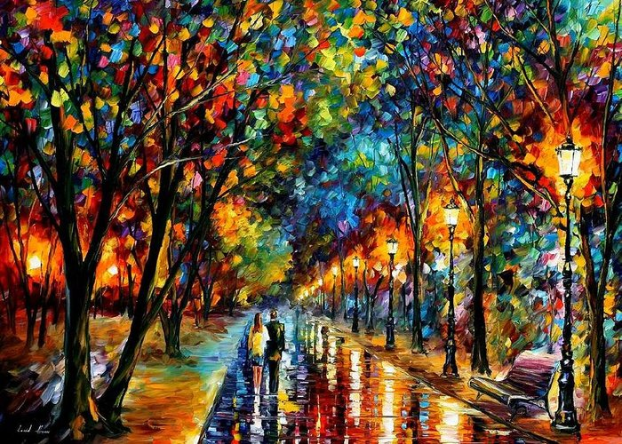 Landscape Greeting Card featuring the painting When Dreams Come True by Leonid Afremov