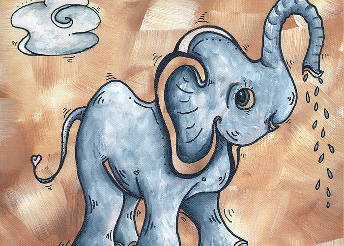 Childrens Greeting Card featuring the painting Whimsical Pop Art Childrens Nursery Original Elephant Painting Adorable By Madart by Megan Duncanson