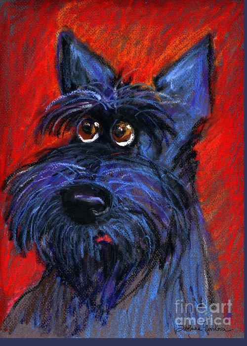 Schnauzer Dog Painting Greeting Card featuring the painting whimsical Schnauzer dog painting by Svetlana Novikova