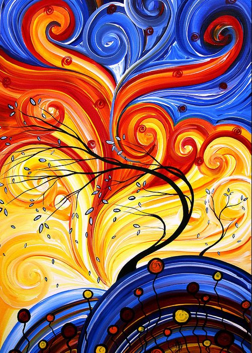 Abstract Greeting Card featuring the painting Whirlwind By Madart by Megan Duncanson
