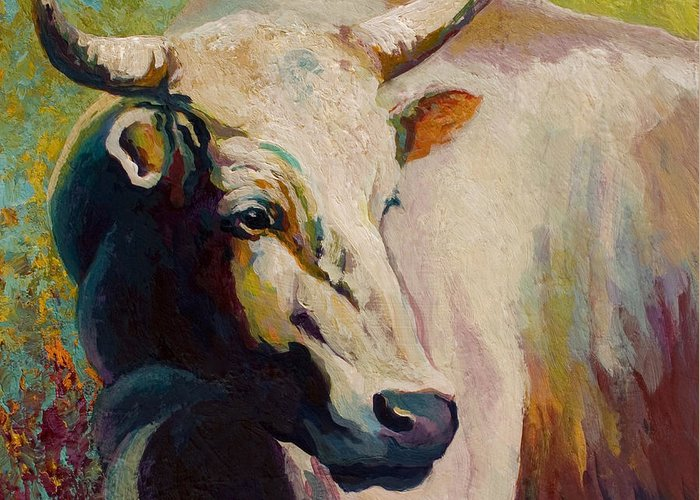Cow Greeting Card featuring the painting White Bull Portrait by Marion Rose