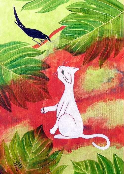 Cat Greeting Card featuring the painting White Cat Black Bird by Susan Greenwood Lindsay