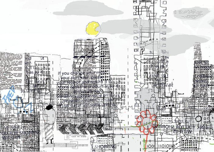 Line Greeting Card featuring the drawing White City by Andy Mercer