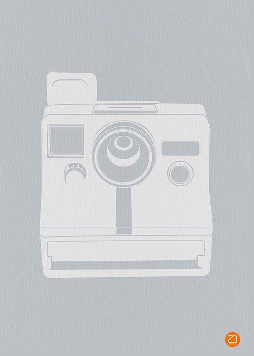 Polaroid Greeting Card featuring the photograph White Polaroid Camera by Naxart Studio