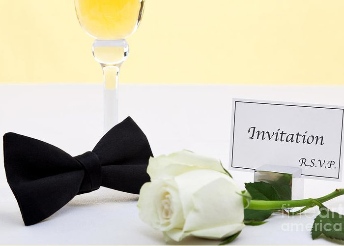 Champagne Greeting Card featuring the photograph White Rose Bow Tie And Invitation. by Richard Thomas