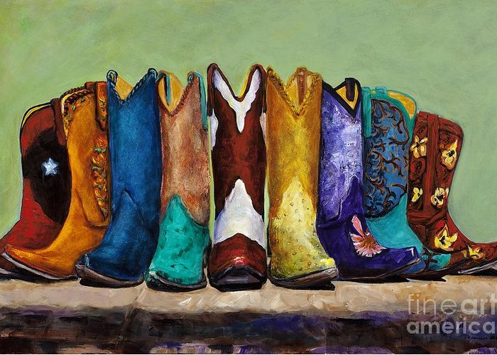 Cowboys Greeting Card featuring the painting Why Real Men Want To Be Cowboys by Frances Marino