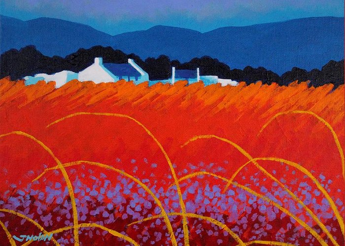 Landscape Greeting Card featuring the painting Wild Flowers County Wicklow by John Nolan
