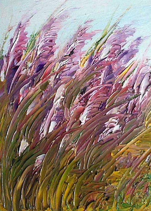 Gladiolas Greeting Card featuring the painting Wild Gladiolas by Robert Laper