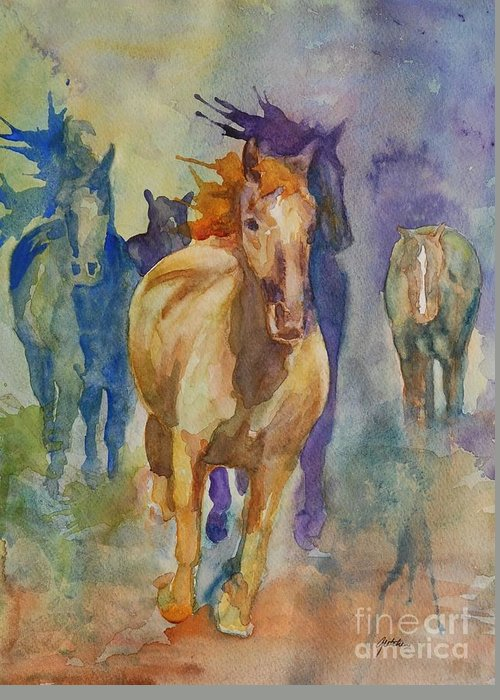 Wild Horses Greeting Card featuring the painting Wild Horses by Gretchen Bjornson