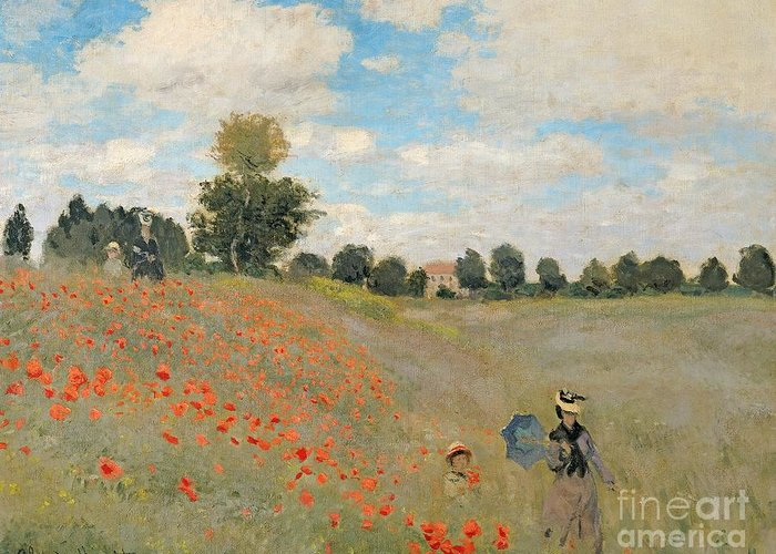 Wild Greeting Card featuring the painting Wild Poppies Near Argenteuil by Claude Monet