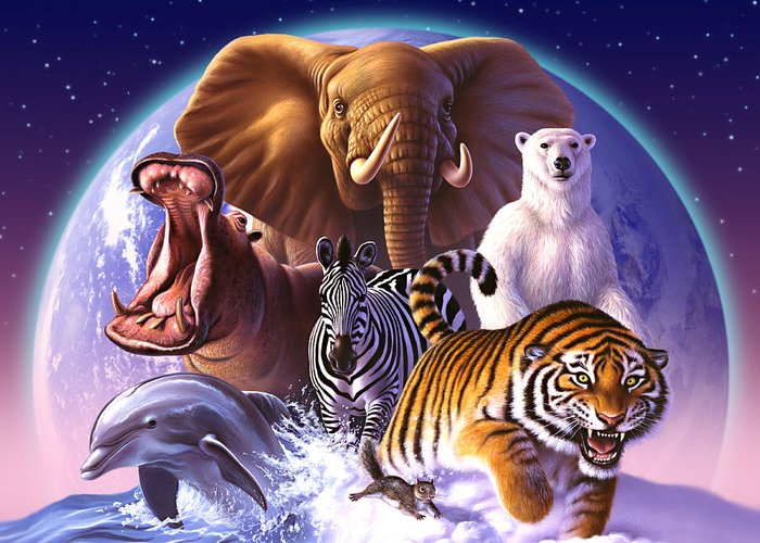 Mammals Greeting Card featuring the painting Wild World by Jerry LoFaro