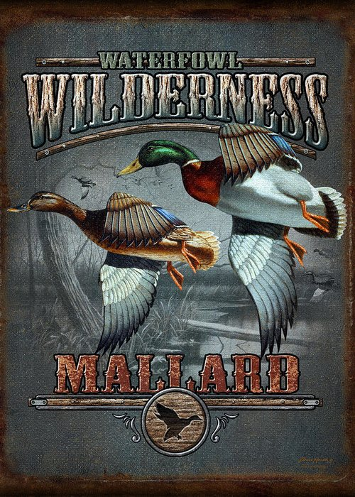 Bruce Miller Greeting Card featuring the painting Wilderness Mallard by JQ Licensing