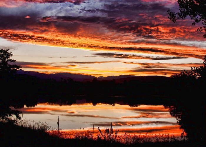 Sunset Greeting Card featuring the photograph Wildfire Sunset Reflection Image 28 by James BO Insogna