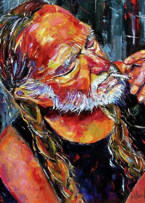 Willie Nelson Greeting Card featuring the painting Willie Nelson Booger Red by Debra Hurd