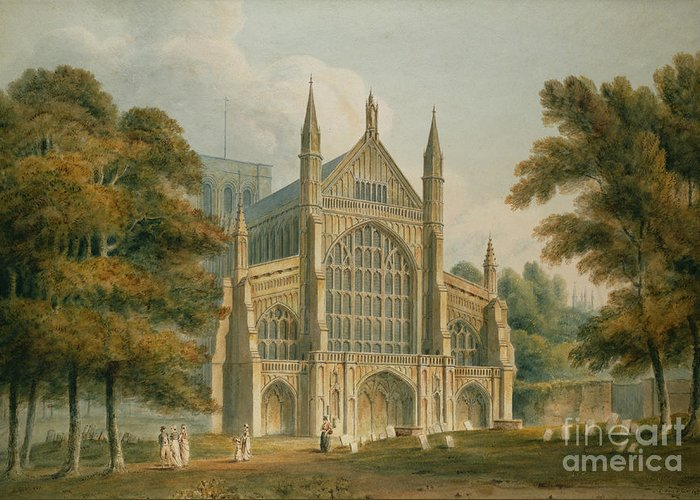 Winchester Greeting Card featuring the painting Winchester Cathedral by John Buckler