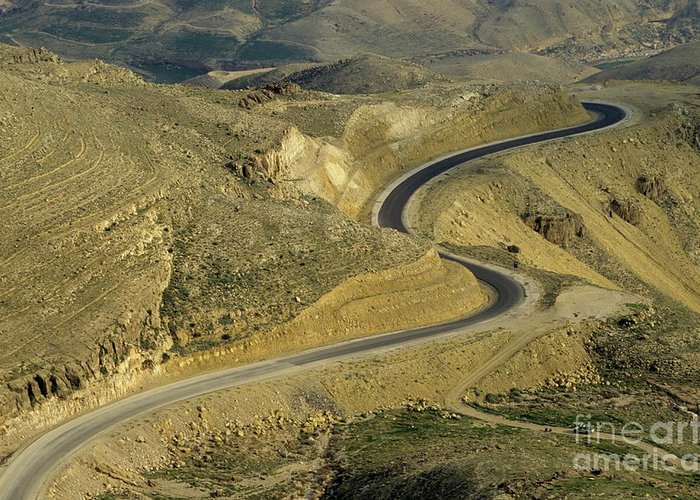 Road Greeting Card featuring the photograph Winding King Road In Wadi Mujib Valley by Sami Sarkis
