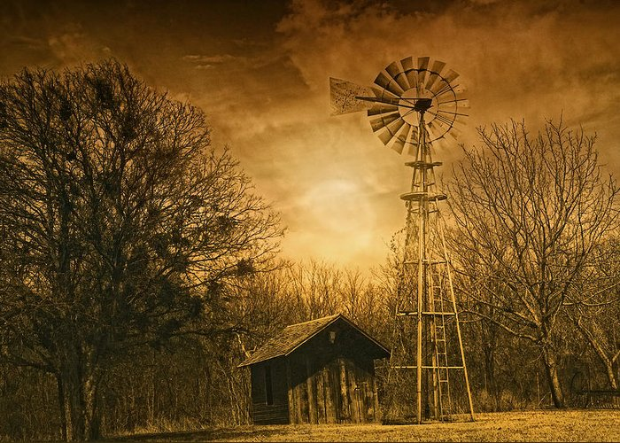 Windmill Greeting Card featuring the photograph Windmill At Sunset by Iris Greenwell