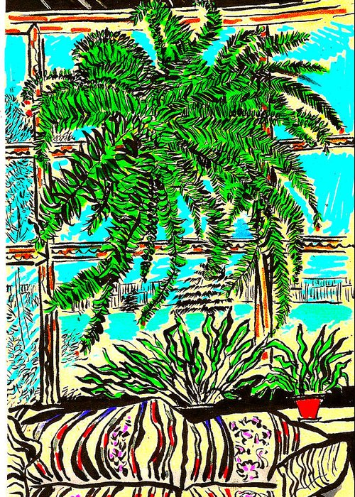 Plant Greeting Card featuring the drawing Window Loving Fern by Al Goldfarb